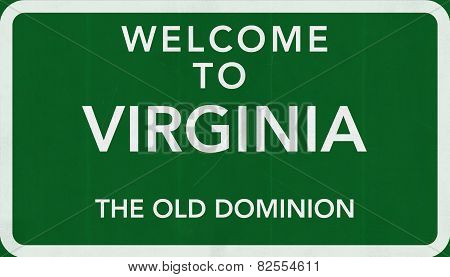 Virginia USA Welcome to Highway Road Sign
