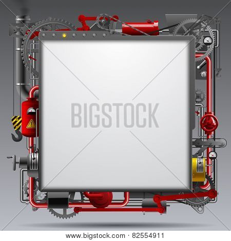 Industrial design template with complex machinery. Vector illustration