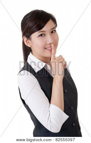 Business woman want you being silent, closeup portrait on white background.