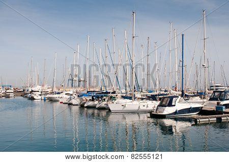 Luxury Yachts Resting At Larnaca Marina In Cyprus