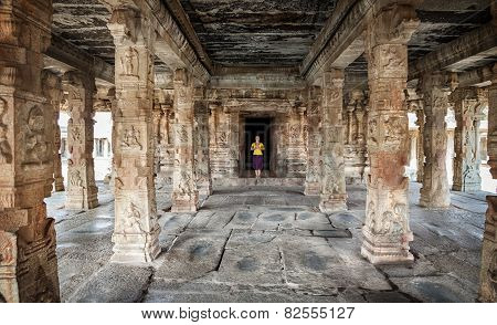 Woman In Hampi Temple