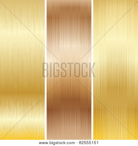 Metal Background, Copper and Gold. Set. Vector.