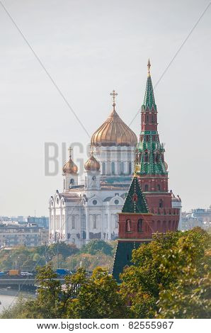 The Cathedral of Christ the Savior and Patriarchal bridge, Moscow, Russia