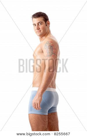 Man In Blue Underwear
