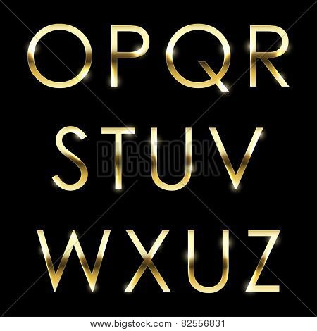 Vector gold font collection. Golden letters.