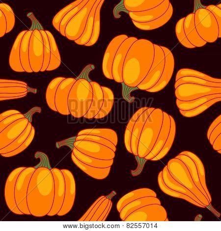 Vector Cartoon Seamless Pattern With Pumpkin