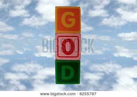 Play Blocks Spell God In Sky With Clipping Path