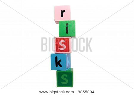 Risks In Toy Play Block Letters With Clipping Path