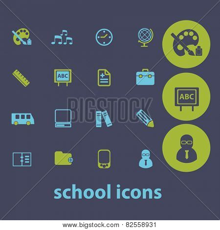 school, education, training, classroom, class, lesson isolated design flat icons, signs, illustrations vector set on background