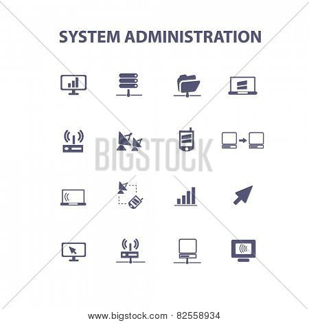 system administration, computer, mobile, interface, isolated design flat icons, signs, illustrations vector set on background