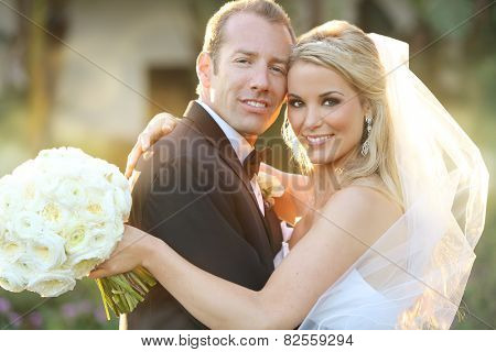 Happy bride and groom on their wedding