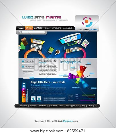 Flat Style Website Template - Elegant Design for Business Layouts Template with a lot of design elements and infographics and long shadow items.