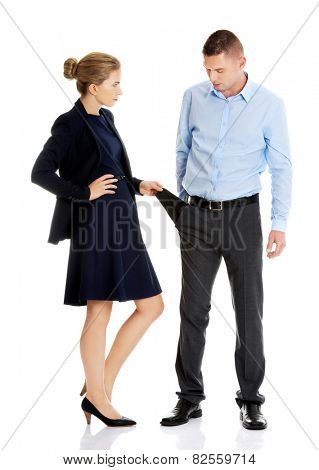 Businesswoman surprised by an empty pocket