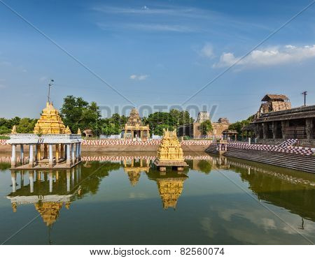 Temple tank of Varadaraja Temple, Kanchipuram, Tamil Nadu, India