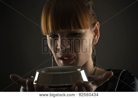 charming woman with a bowl