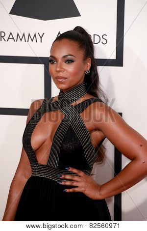 LOS ANGELES - FEB 8:  Ashanti at the 57th Annual GRAMMY Awards Arrivals at a Staples Center on February 8, 2015 in Los Angeles, CA