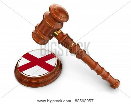 Wooden Mallet and flag Of Alabama (clipping path included)
