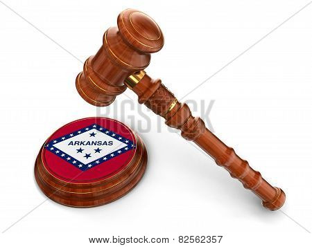 Wooden Mallet and flag Of Arkansas (clipping path included)