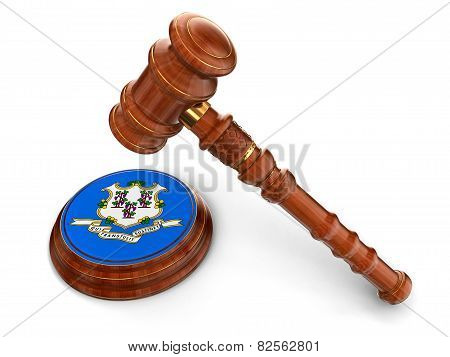 Wooden Mallet and flag Of Connecticut (clipping path included)