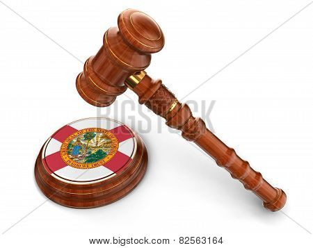 Wooden Mallet and flag Of Florida (clipping path included)