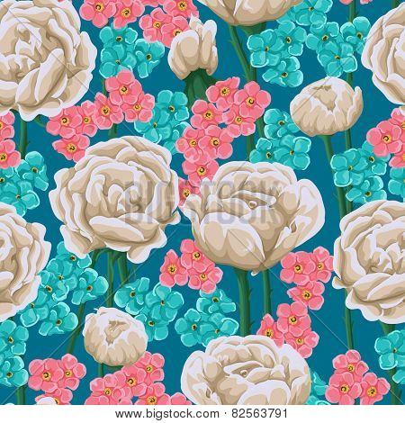 Floral seamless pattern with gentle white roses, blue and pink small flowers.