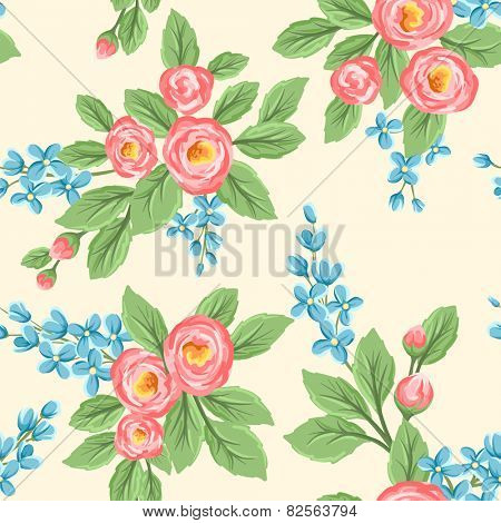 Floral seamless pattern with pink roses and small blue flowers on beige background.