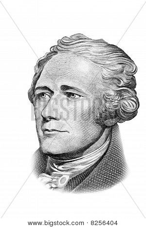 Alexander Hamilton Portrait On Ten Dollars Bill. Isolated On White.