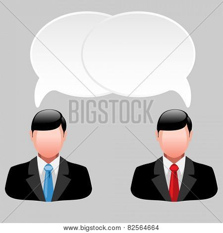 Icon of business men with thoughts and ideas. illustration