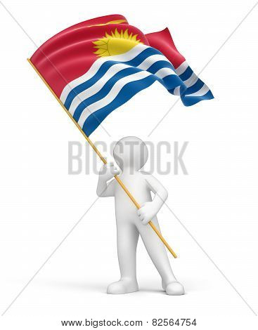 Man and flag of Kiribati (clipping path included)
