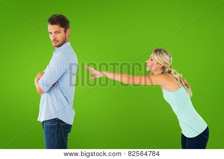 Desperate blonde reaching for boyfriend against green vignette