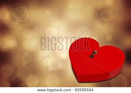 Love heart lock against orange abstract light spot design