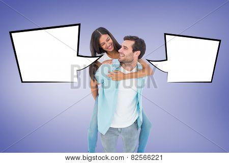 Happy casual man giving pretty girlfriend piggy back against purple vignette