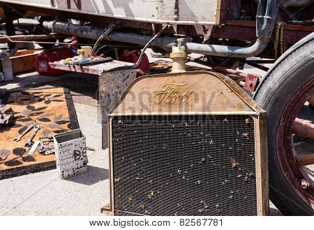 Radiator Of Retro Car Ford Model T, Built At Year 1913
