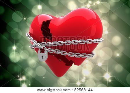 Locked heart against light design shimmering on green