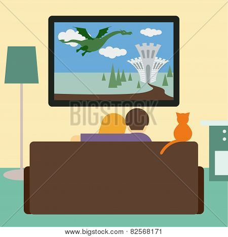 Couple And Cat Watching The Adventure Film On Television