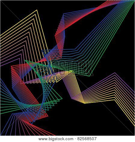 Abstract Bright Geometric Broken Lines Set Isolated On Dark Background