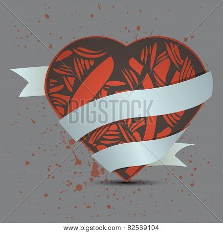 abstract heart on dirty background