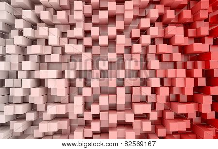 Abstract 3D background of red and white cubes