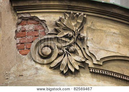 Art Nouveau stucco decoration in Hradec Kralove, East Bohemia, Czech Republic.