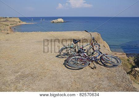 Bike Tourists On The Coast