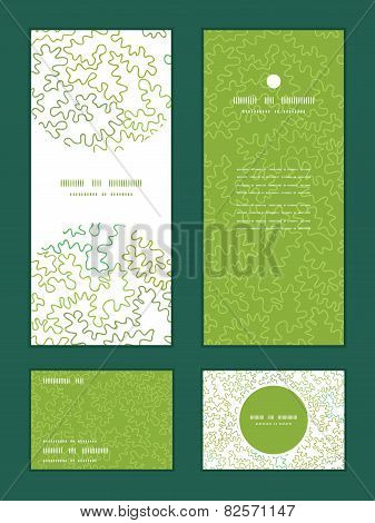 Vector curly doodle shapes vertical frame pattern invitation greeting, RSVP and thank you cards set