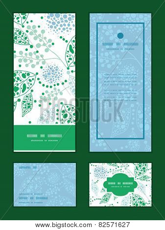 Vector abstract blue and green leaves vertical frame pattern invitation greeting, RSVP and thank you