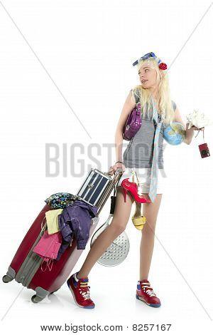 Blonde Shopping Girl Vacation Metaphor Suitcase Full