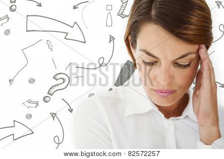 Woman with headache against arrows pointing to exclamation mark