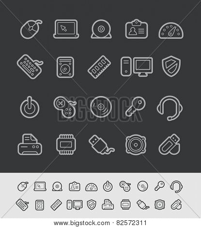 Computer Store Icons // Black Line Series -- EPS 10+  Contain Transparencies