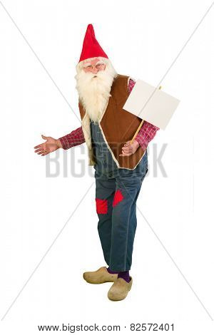 Isolated garden gnome holding an empty text board