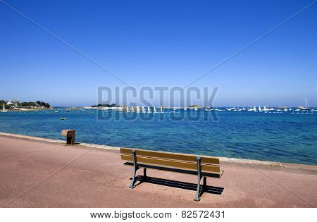Coast of France in Brittany, bench in Port-Blanc