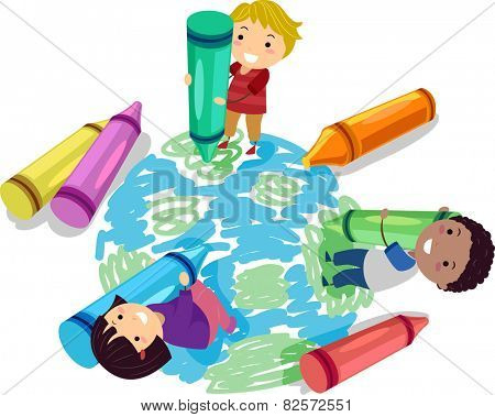 Illustration of Stickman Kids Using Crayons to Draw a Globe