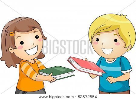 Illustration of a Boy and a Girl Exchanging Books