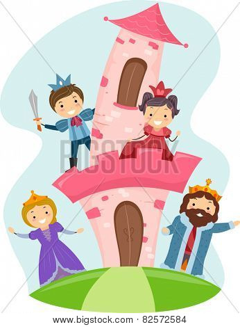 Illustration of Stickman Kids Dressed as Members of a Royal Family